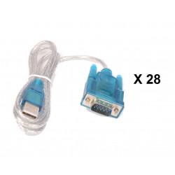 Lot de 28 cables de conversion usb vers rs232 db9 serie 9 pin 80cm cable-146/2 HL-340