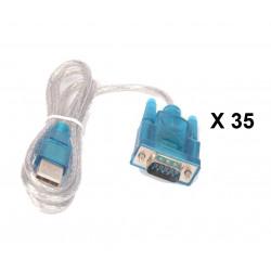Lot de 35 cables de conversion usb vers rs232 db9 serie 9 pin 80cm cable-146/2 HL-340