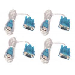 Lot de 4 cables de conversion usb vers rs232 db9 serie 9 pin 80cm cable-146/2 HL-340