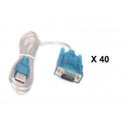 Lot de 40 cables de conversion usb vers rs232 db9 serie 9 pin 80cm cable-146/2 HL-340