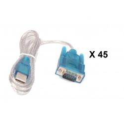 Lot de 45 cables de conversion usb vers rs232 db9 serie 9 pin 80cm cable-146/2 HL-340