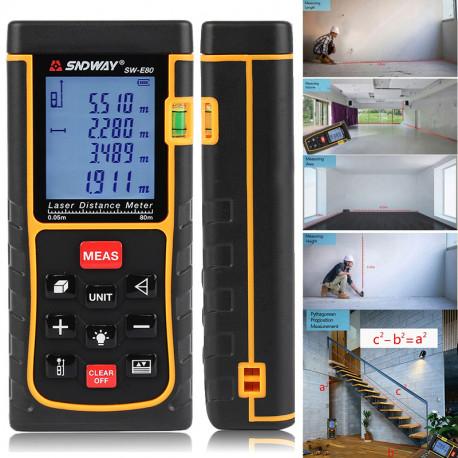 SNDWAY 80M Digital laser rangefinder 262ft handheld distance meter trena Laser range finder Area-volume-Angle tape measure tool