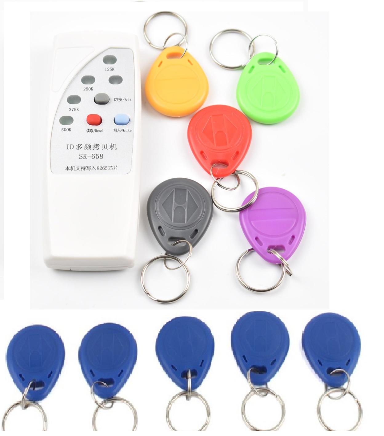 4 frequency RFID Copier/ Duplicator/ Cloner ID EM reader & writer+ 10 pcs  EM4305 T5577 writable keyfob - Eclats Antivols