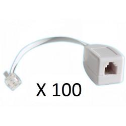 Lot de 100 parafoudres telephonique 1 ligne rj11 tel fax/modem compatible rj12 parasurtenseur
