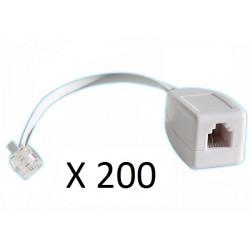 Lot de 200 parafoudres telephonique 1 ligne rj11 tel fax/modem compatible rj12 parasurtenseur