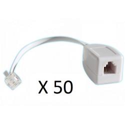 Lot de 50 parafoudres telephonique 1 ligne rj11 tel fax/modem compatible rj12 parasurtenseur