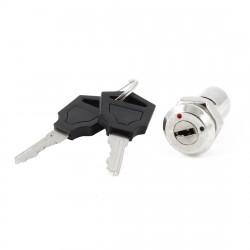 Serrure tubulaire Interrupteur 2 Bornes + 2 Clés plate En Alliage de Zinc Verrouillage electrique