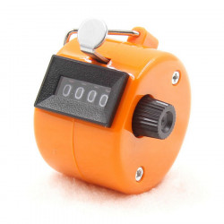 Orange Handheld Tally Counter 4 Digit Display for Lap/Sport/Coach/School/Event