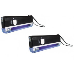 Lot de 2 lampes uv detecteur de faux billet lumiere noire lamp04tbl zluvb ultraviolet carte bancaire