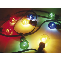 Outdoor party light chain, 11.5m, 20 coloured lamps