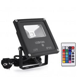 Projecteur LED RGB 10w Lampe Extérieur IP66 avec 16 Couleurs et 4 Modes d'éclairage pour Déco