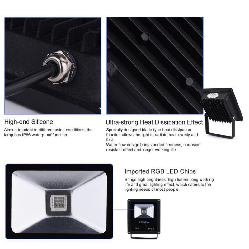 Lampe Led Couleurs 4 Ip66 10w Projecteur Rgb Avec Et Extérieur 16 srohxtCBQd