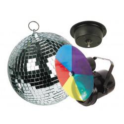 Kit lumiere disco projecteur par36 disque vdlprom1 5 couleurs boule à facettes ø 20cm moteur