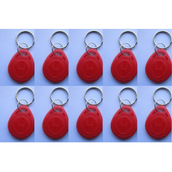 10 Tag 13.56mhz rouge rfid ic iso14443A s50 clef porte cle etanche Anti-corrosion mifare nfc 1K