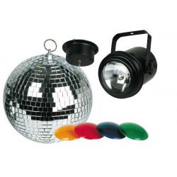 Kit lumiere disco projecteur par 36 4 filtres de couleur vdlprom2 boule a facettes avec moteur 20cm
