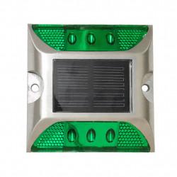 Plot routier vert coller balisage eclairage solaire 6 led route securité circulation signalisation