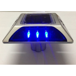 Plot routier solaire 6 led bleu double face a encrer eclairage lumineux ip66 aluminium balisage