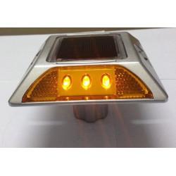Plot routier solaire 6 led jaune double face a encrer eclairage lumineux ip66 aluminium balisage