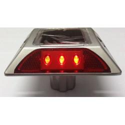 Plot routier solaire 6 led rouge double face a encrer eclairage lumineux ip66 aluminium balisage