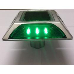 Plot routier solaire 6 led vert double face a encrer eclairage lumineux ip66 aluminium balisage