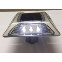 Plot routier solaire 6 led blanc double face a encrer eclairage lumineux ip66 aluminium balisage