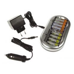Cargador nimh nicd para baterías aa o aaa conector ac y conector mechero
