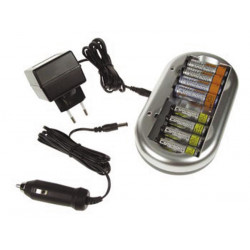 Nimh nicd battery charger for aa or aaa batteries ac and car adapter