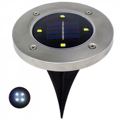 1pc Solar Powered 4LEDs Solar Light Outdoor LED Garden Light Lawn Path Patio valla de acero inoxidable Buried Inground Lamp