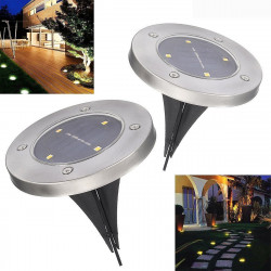 2pc Solar Powered 4LEDs Solar Light Outdoor LED Garden Light Lawn Path Yard Fence Stainless Steel Buried Inground Lamp