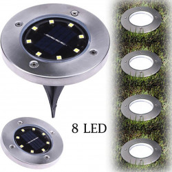 8 LED Solar Power Buried Light Ground Lamp Outdoor Path Way Garden Decking auto sensor Stainless steel 8 hours