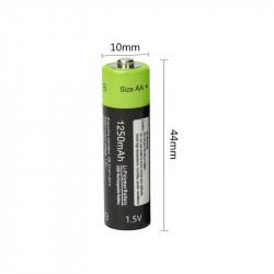 1 batterie rechargeable lithium 1250mAh 1.5V AA lr06 Znter micro usb li-polymer