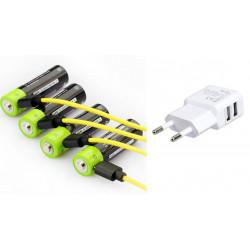 4 pcs 1.5V AA 1250mAh batería recargable del li-polímero micro USB que carga las baterías 1.5v