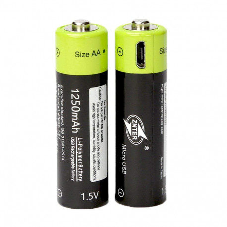 2 pcs 1.5V AA 1250mAh li-polymer Rechargeable Battery micro usb charging 1.5v batteries