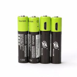 4 batería recargable del polímero de litio 400mAh batería 1.5v aaa lr03 Znter micro usb li-polymer