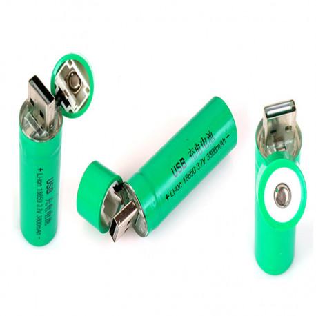 Batería recargable del Li-ion del USB de 1pc 18650 3.7V 3800mAh para la antorcha de la linterna