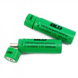 2 pc 18650 3.7V 3800mAh Batteria ricaricabile agli ioni di litio USB per torcia