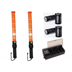 2 batons lumineux rouge + batterie + chargeur route circulation signalisation police auto avion