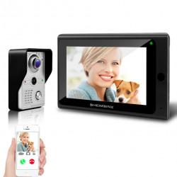 Système d'interphone vidéo de porte sans fil, 1x moniteur Wifi 7 pouces + 1x caméra de porte filaire