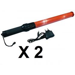 2 Baton linterna recargable roja del semáforo plano de señalización de carreteras coche policial