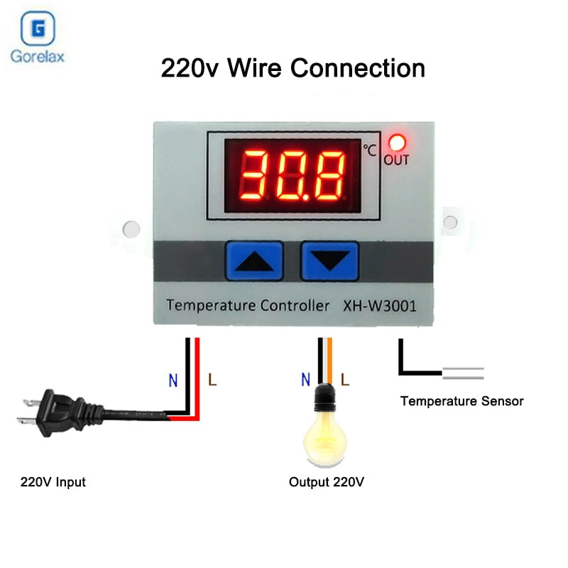 12V//24V Digital Temperature Controller Thermostat Control With Switch Test Probe