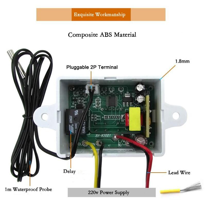 220V 10A DM-W3001 3 Bits LED Digit Temperature Controller