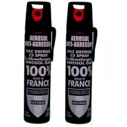 2 Bombe lacrymogène gel cs format 50 75ml vous permettra de neutraliser vos agresseurs gazgm100