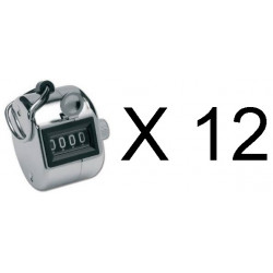 12 Chrome mechanical 4 digit counts 0-9999 hand held manual tally counter clicker golf