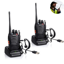 Baofeng BF-888S 16-Channel UHF 400-470MHz Walkie Talkie Pair 2-Way FM Radio Rechargeable Transceiver 3 Kilometer Range