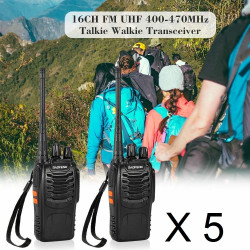 10 X Baofeng BF-888S 16-Channel UHF 400-470MHz Walkie Talkie Pair 2-Way FM Radio Rechargeable Transceiver 3 Kilometer Range
