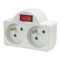 2 way socket splitter with switch