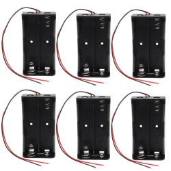 6 Boitier Bloc Coupleur Support de 2 Batterie Pile rechargeable 18650 3.7v