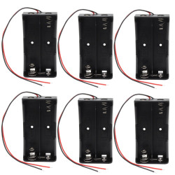6 x 3.7V Clip Holder Box Case Black With Wire for 2 18650 Battery