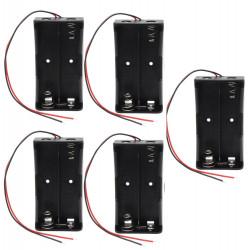 5 x 3.7V supporto della clip cassa della scatola nera con un cavo per 2 18650