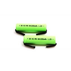 2 Batería recargable 1200mah 2A 1.2v lr06 aa am3 lr6 ni-mh con pata para diente de cepillo de afeitar